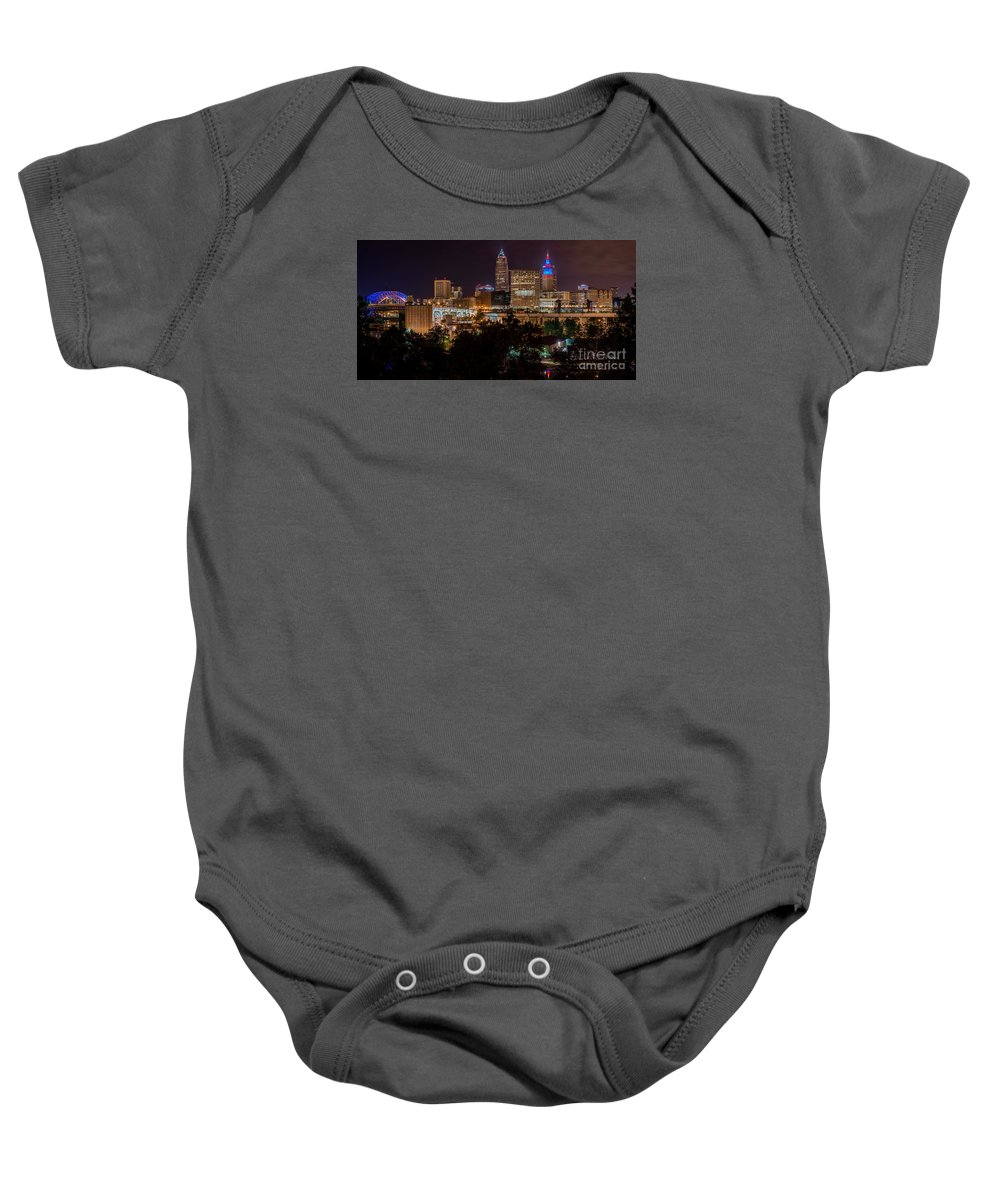 City View Baby Onesie featuring the photograph Downtown Cleveland Veteran Memorial Bridge by Frank Cramer