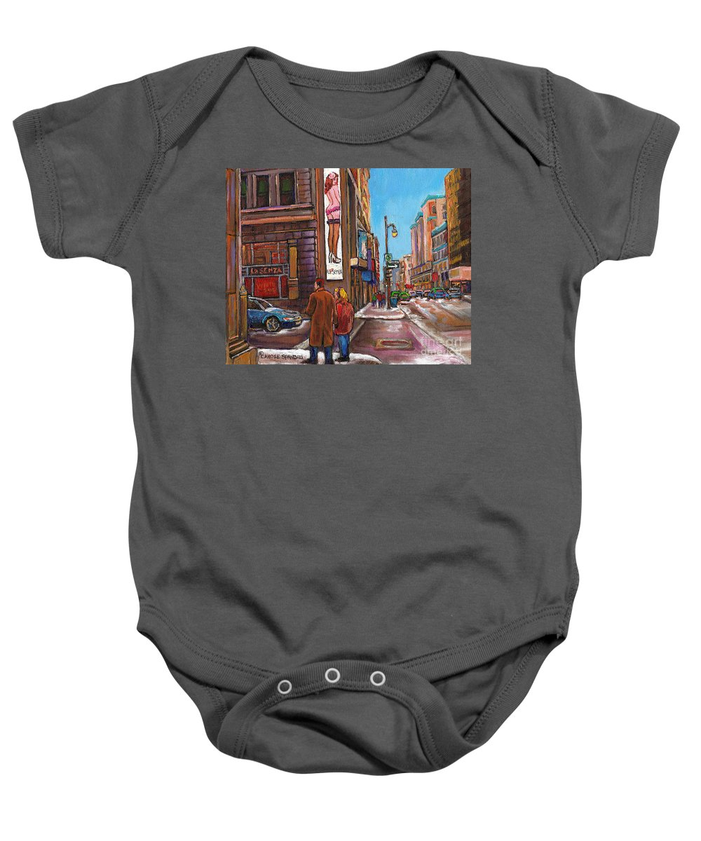 Montreal Baby Onesie featuring the painting Downtown Montreal Streetscene At La Senza by Carole Spandau