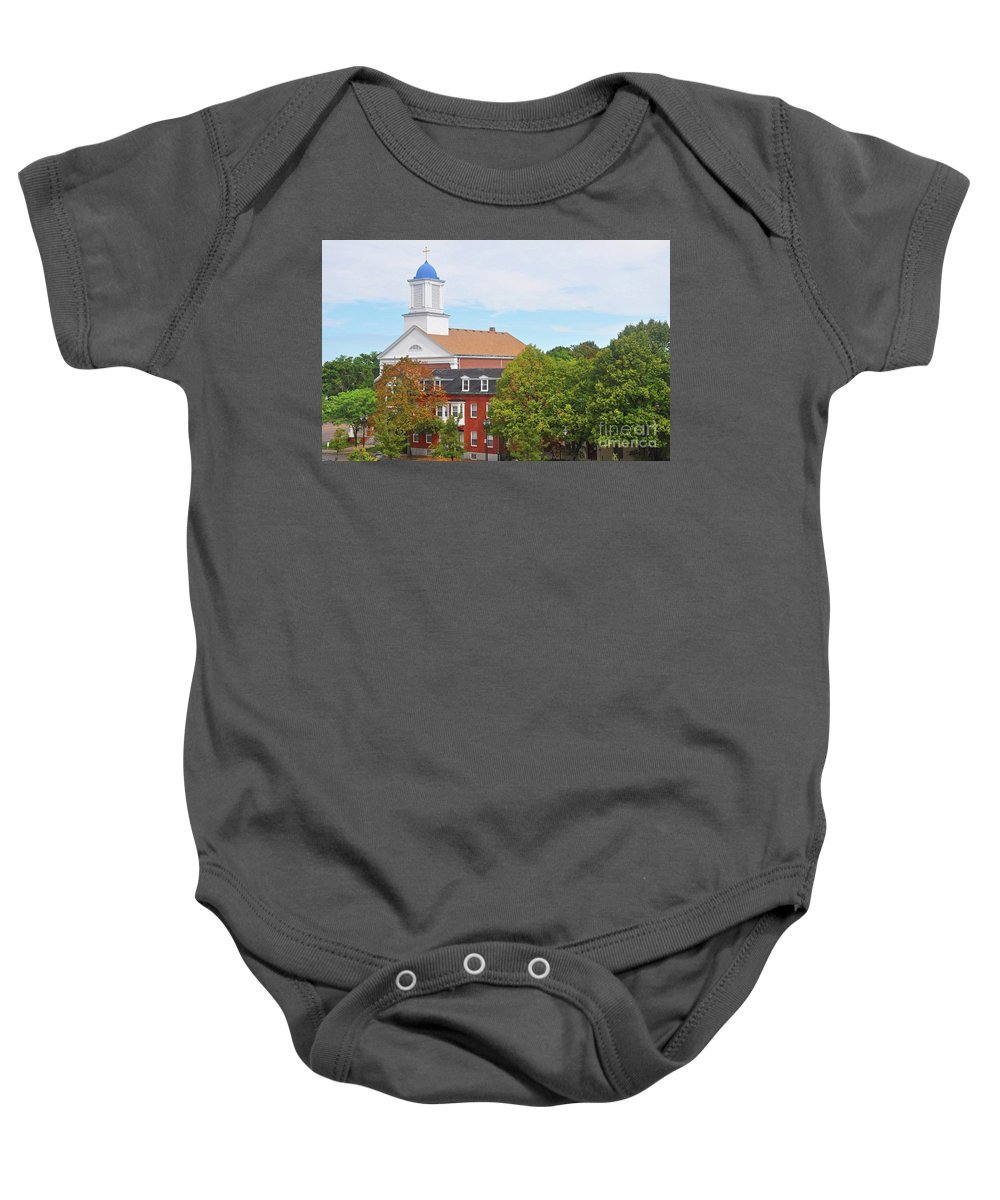 Black And White Photography Baby Onesie featuring the photograph Downtown Salem Ma by Brittany Horton