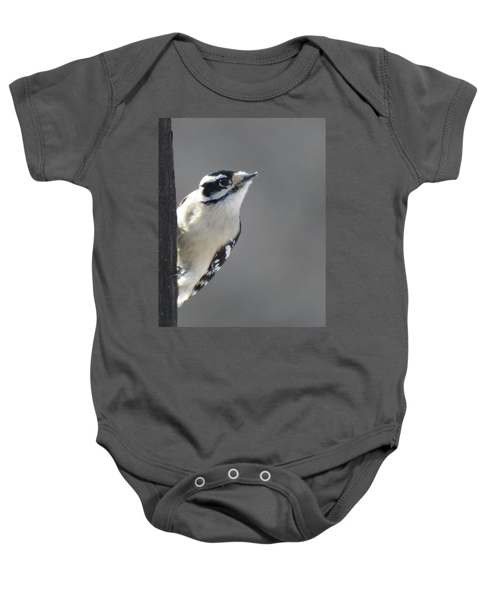 Bird Baby Onesie featuring the photograph Downy Woodpecker by Donald Nelson