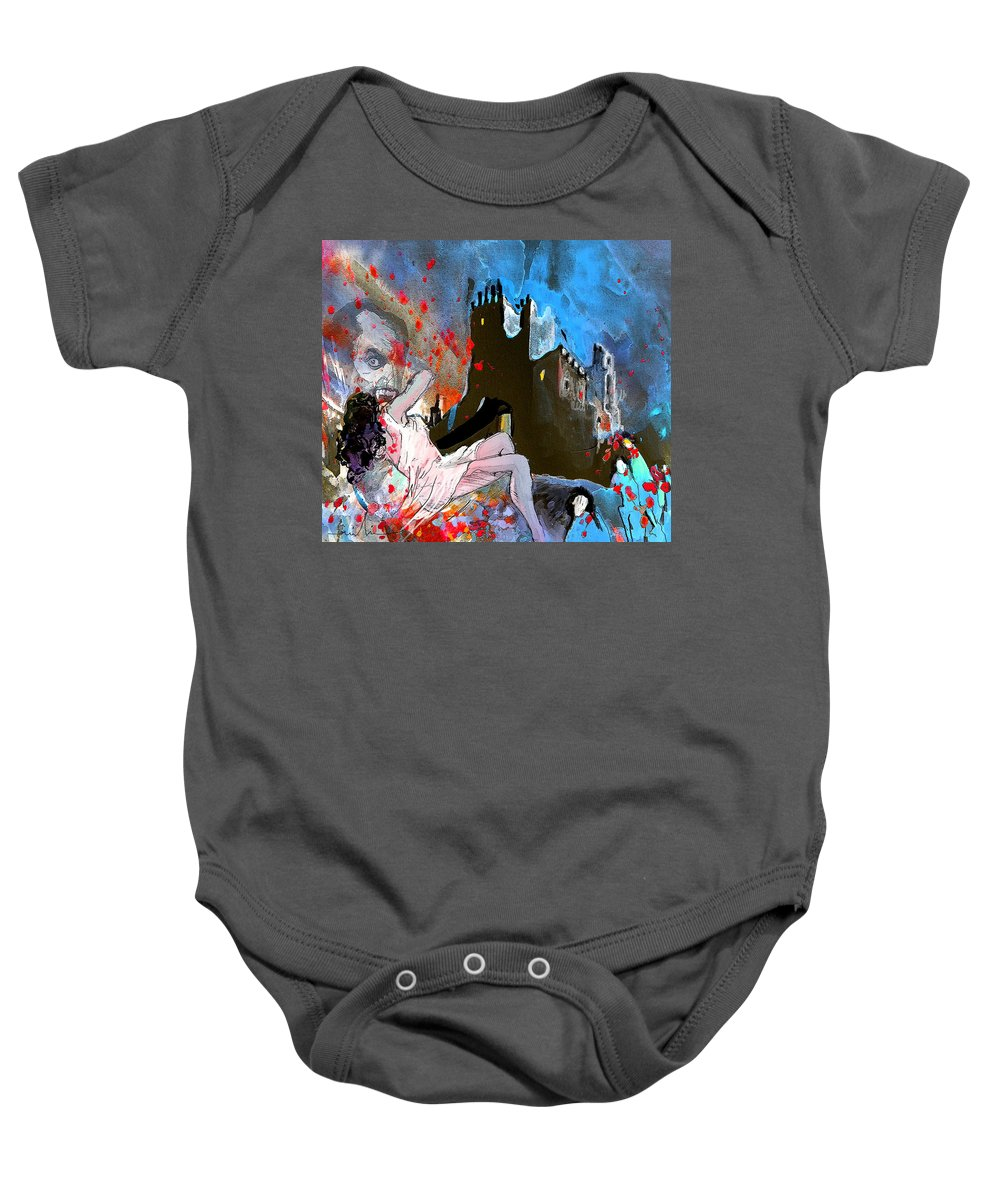 Dracula Baby Onesie featuring the painting Dracula by Miki De Goodaboom
