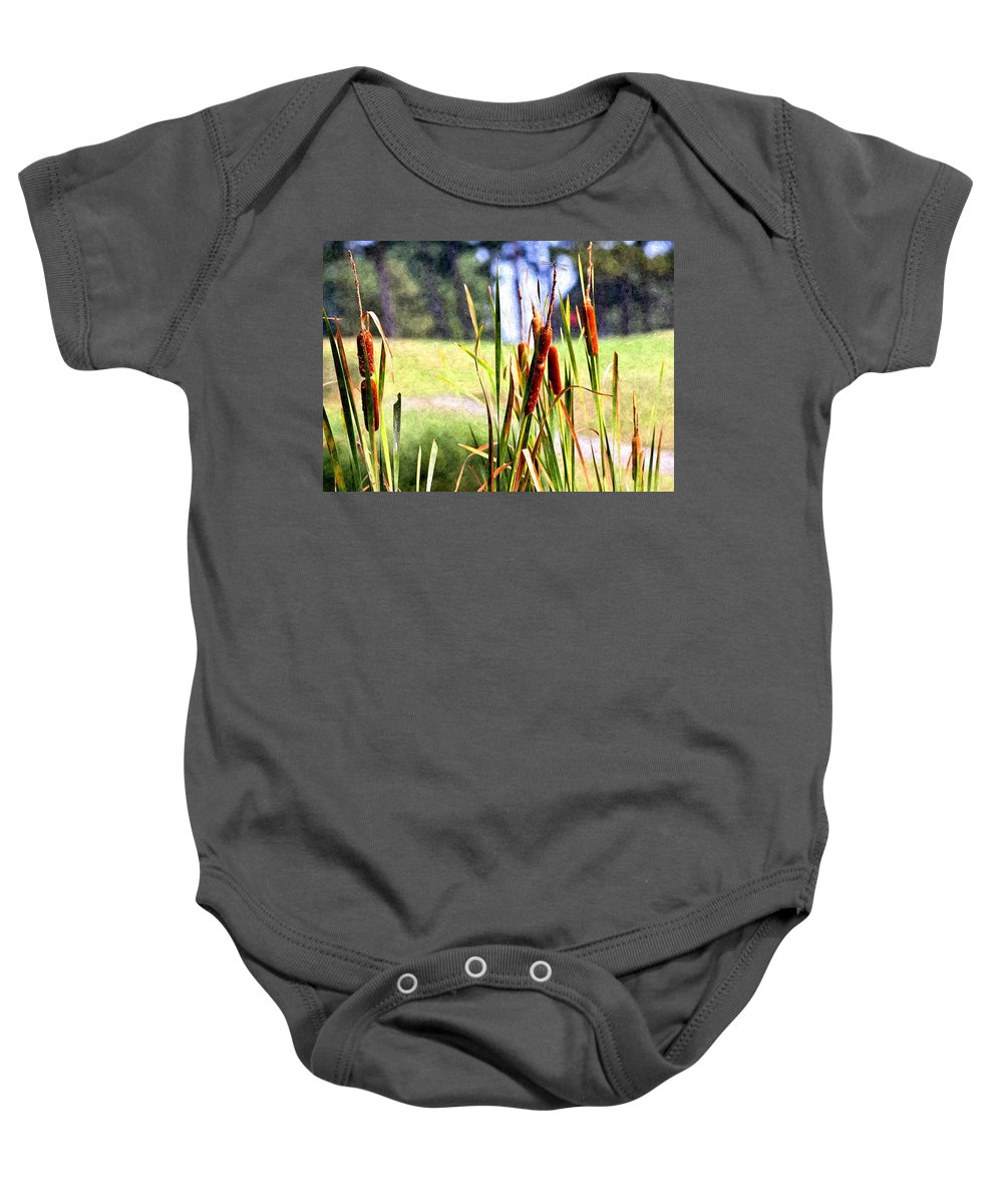 Dragon Fly Baby Onesie featuring the photograph Dragon Fly And Cattails In Watercolor by Gary Adkins