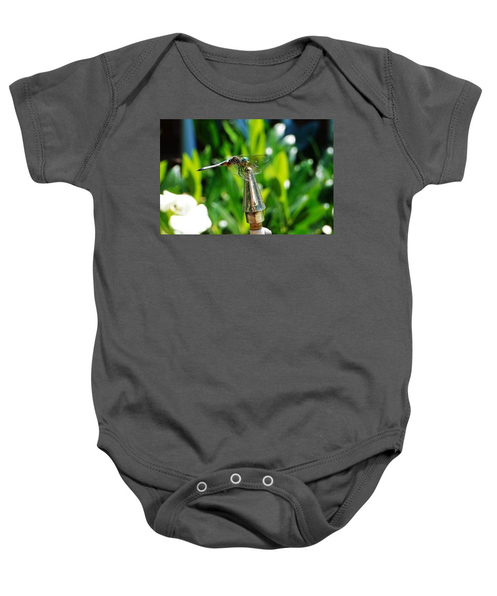 Dragonfly Baby Onesie featuring the photograph Dragonfly On Flag Post by Beth Deitrick