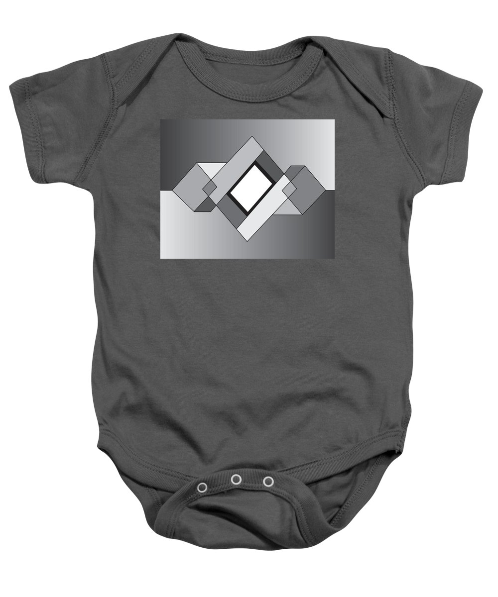 Illustration Baby Onesie featuring the drawing Drawn2shapes10bnw by Maggie Mijares