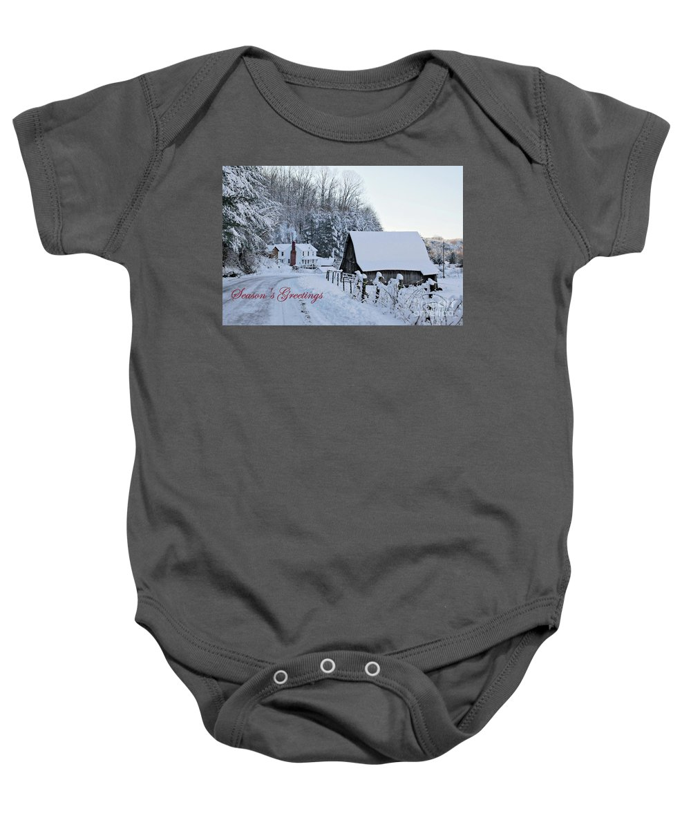 Virginia Baby Onesie featuring the photograph Dreaming Of A White Christmas by Benanne Stiens