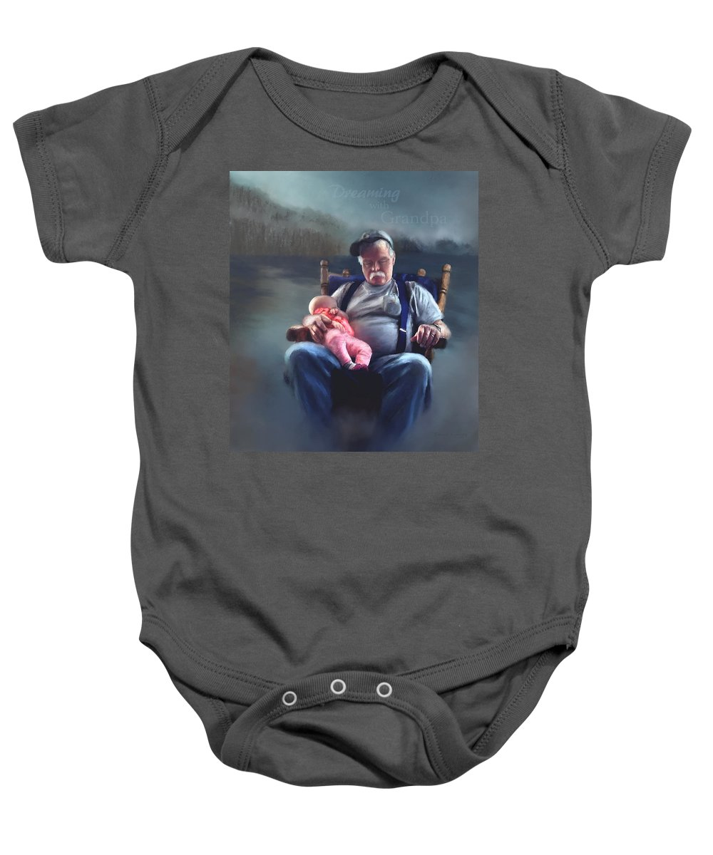 Dreams Baby Onesie featuring the painting Dreaming With Grandpa by Susan Kinney