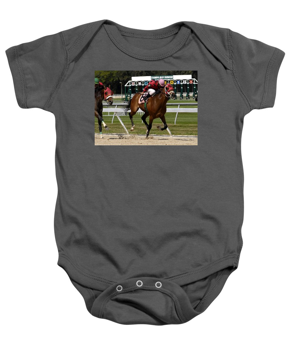 Horse Racing Baby Onesie featuring the photograph Drive by David Lee Thompson