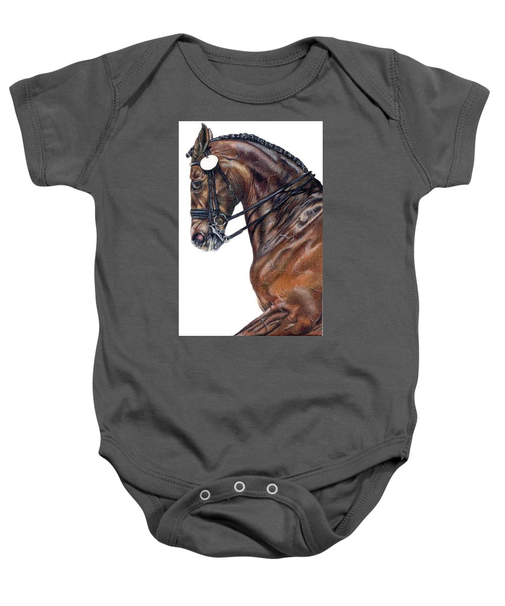 Horse Baby Onesie featuring the drawing Driven by Kristen Wesch