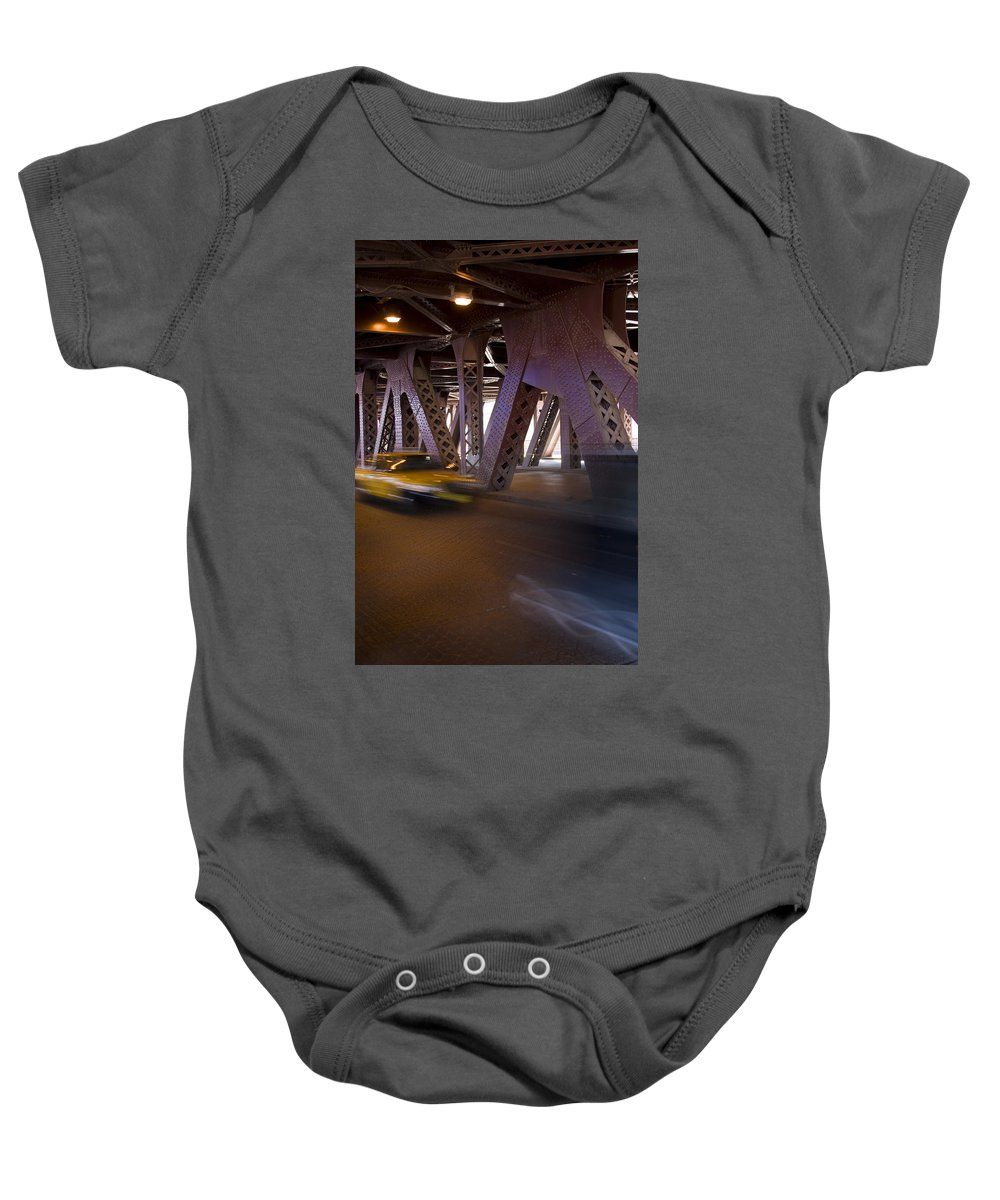 Chicago Windy City Bridge Steel Metal Taxi Street Road Fast Metro Urban Baby Onesie featuring the photograph Driving Fast by Andrei Shliakhau