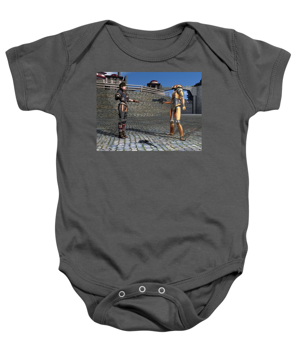 Digital Art Baby Onesie featuring the digital art Droid Captures A Local Rebel by Michael Wimer