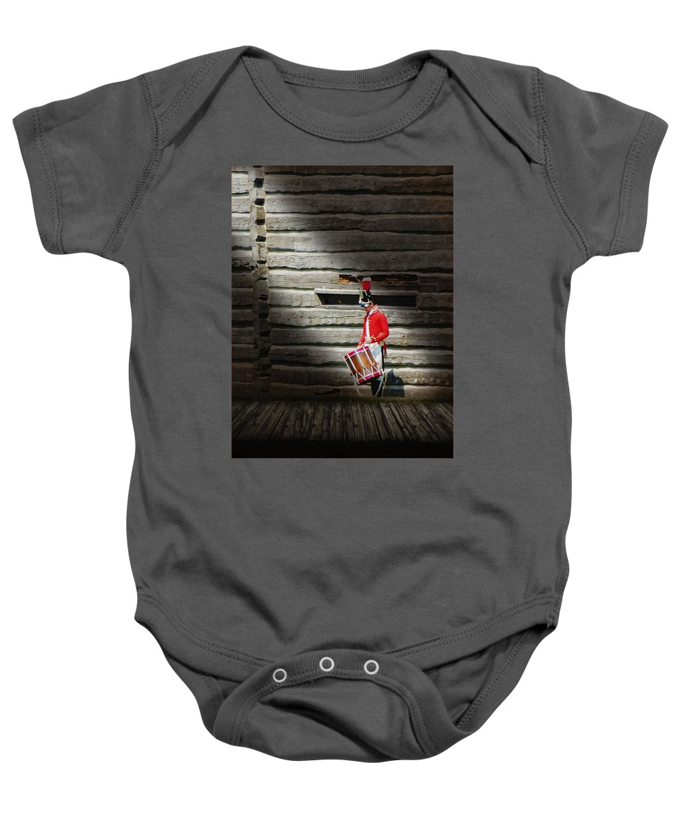 Drum Baby Onesie featuring the photograph Drummer by John Anderson
