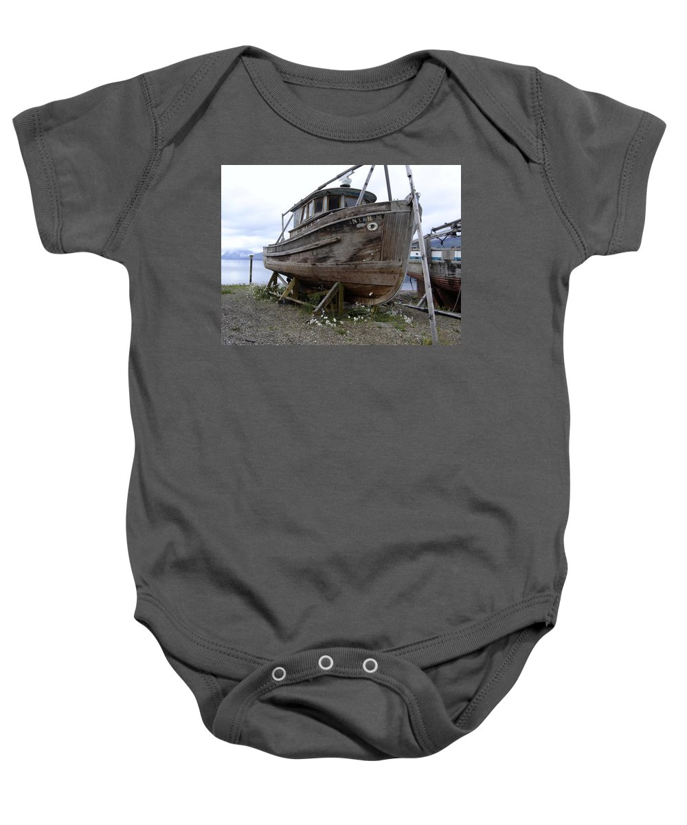 Ship Baby Onesie featuring the photograph Dry Dock by Mary Rogers