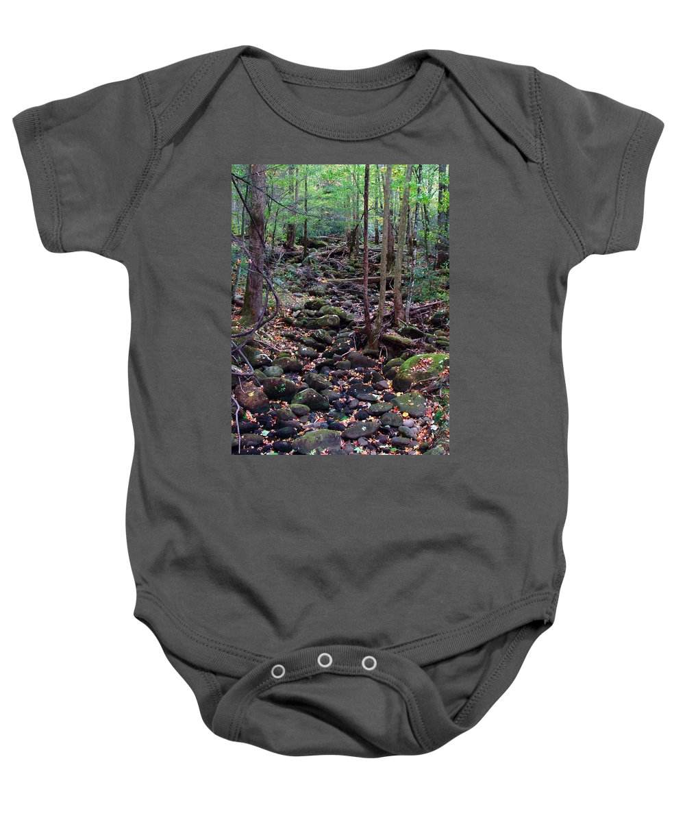 River Baby Onesie featuring the photograph Dry River Bed- Autumn by Nancy Mueller