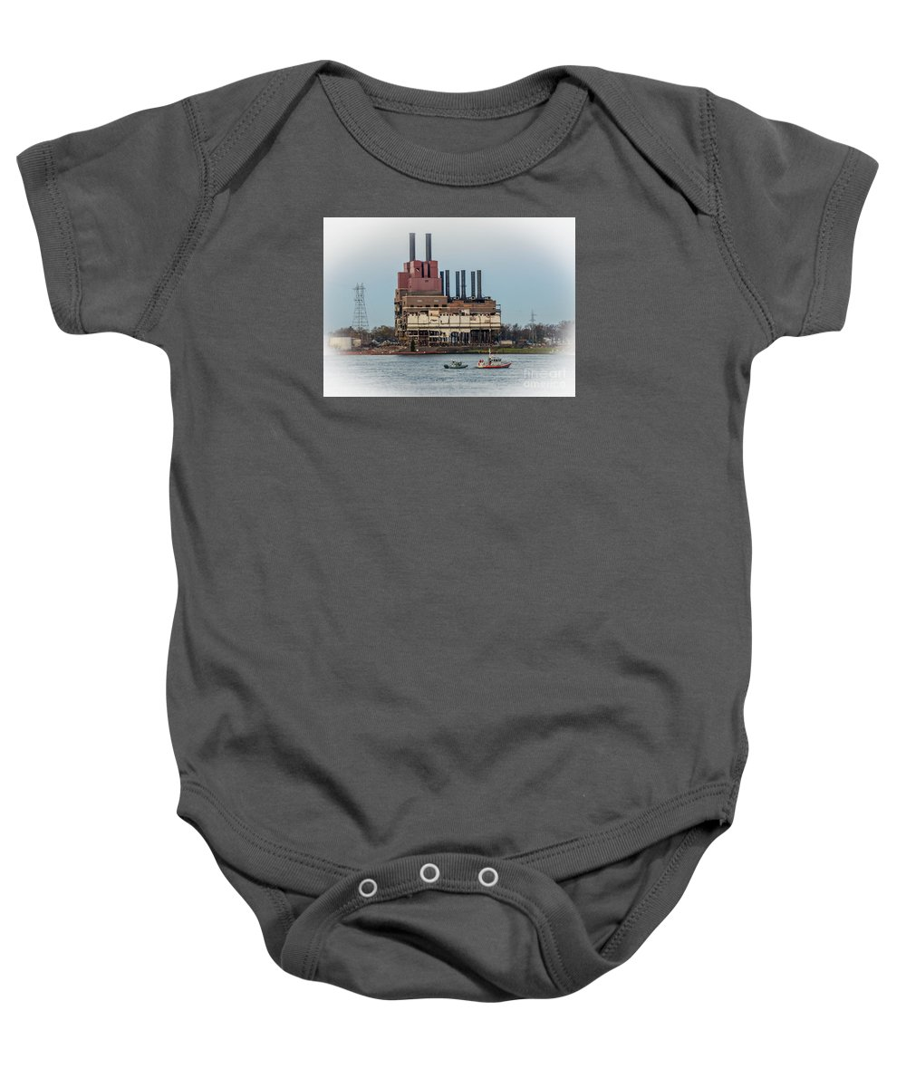 Dte Power Plant Baby Onesie featuring the photograph Dte Power Plant by Grace Grogan