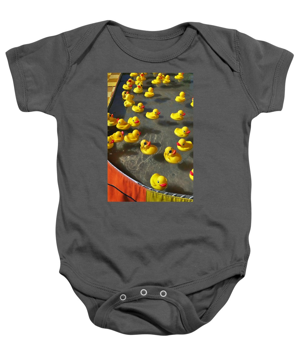 Duckies Baby Onesie featuring the photograph Duckies by Skip Hunt