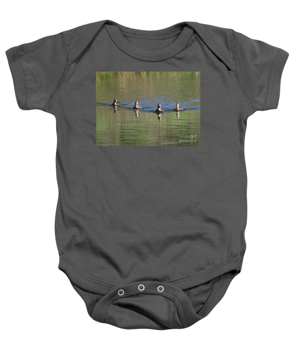 Ducks Baby Onesie featuring the photograph Ducks In A Row by Carol Groenen