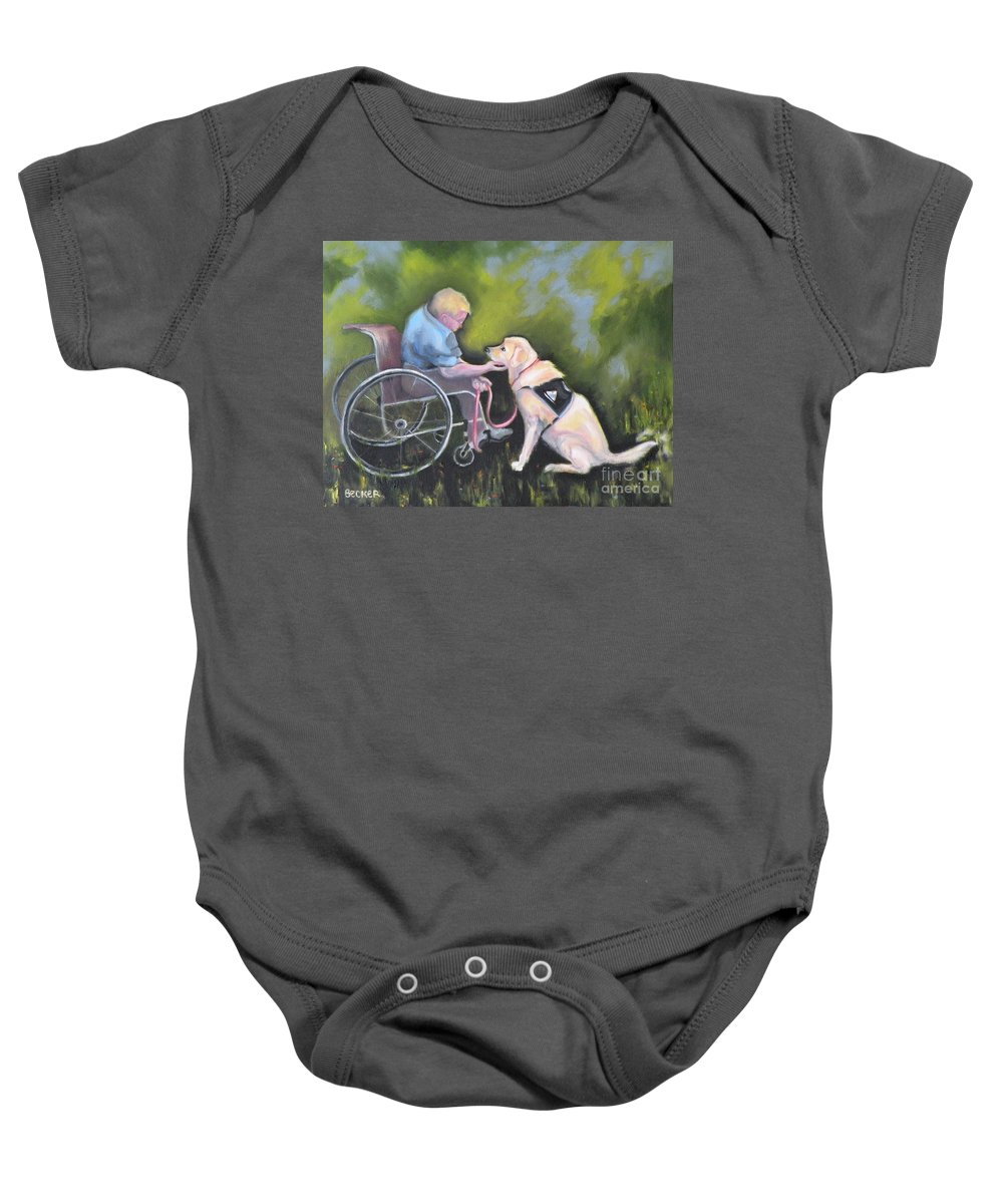 Dog Baby Onesie featuring the painting Duet by Susan A Becker
