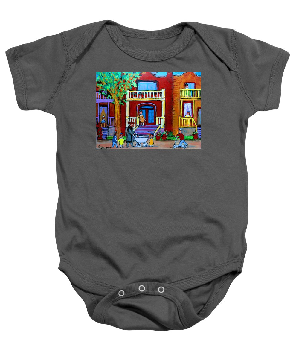 Judaica Baby Onesie featuring the painting Durocher Street Montreal by Carole Spandau
