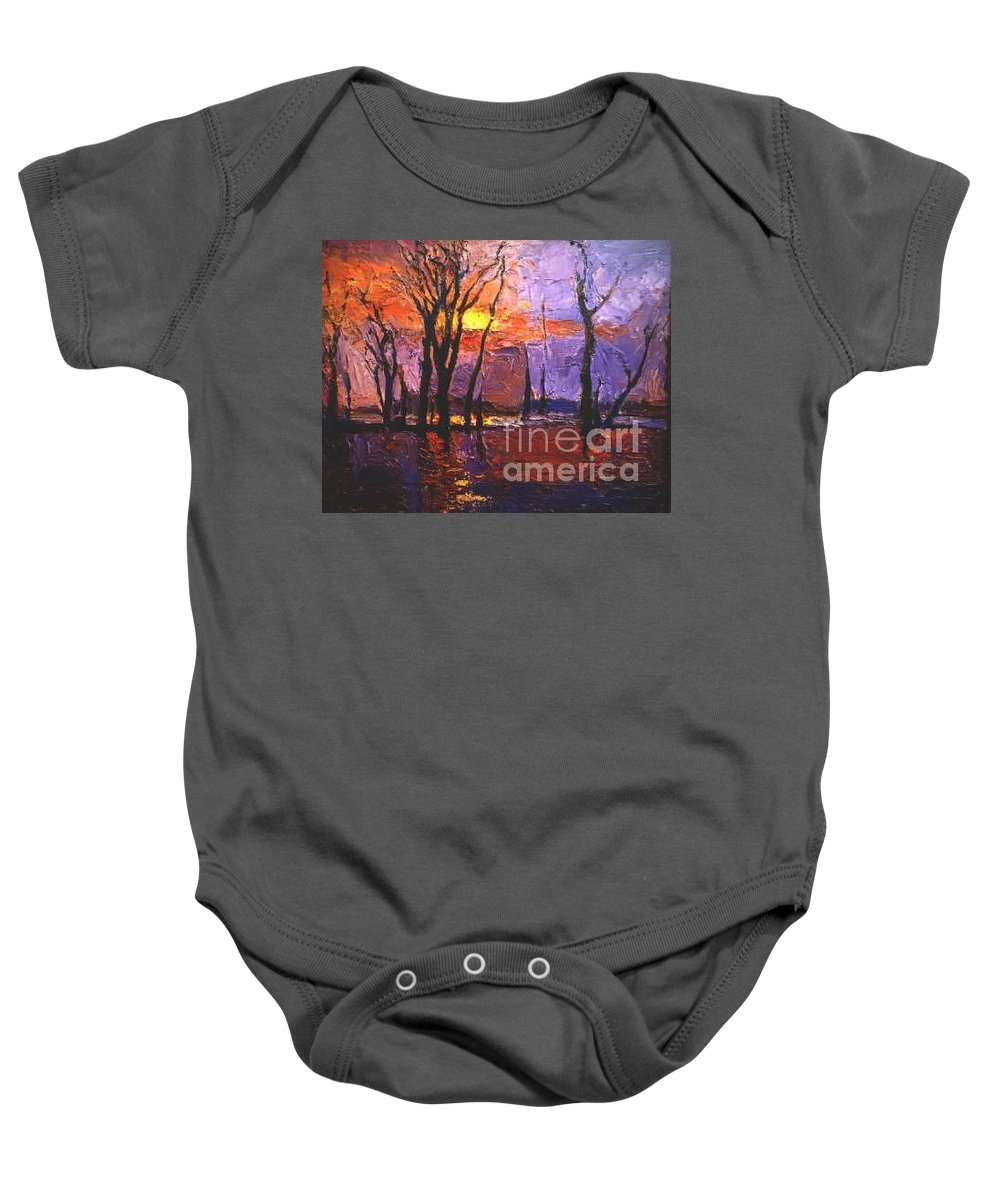 Dusk Baby Onesie featuring the painting Dusk by Meihua Lu