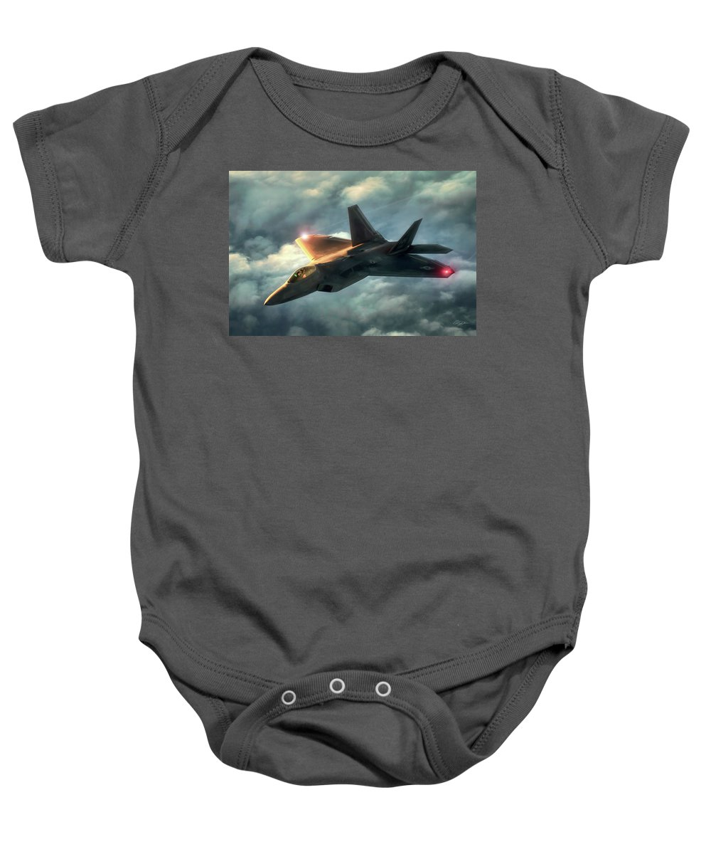 Aviation Baby Onesie featuring the digital art Dusk Raptor by Peter Chilelli