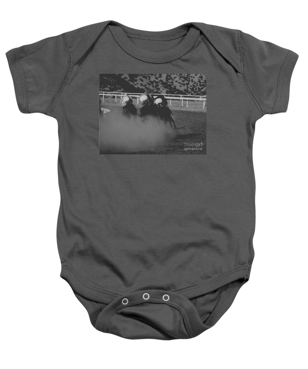 Horse Baby Onesie featuring the photograph Dust And Butts by Kathy McClure