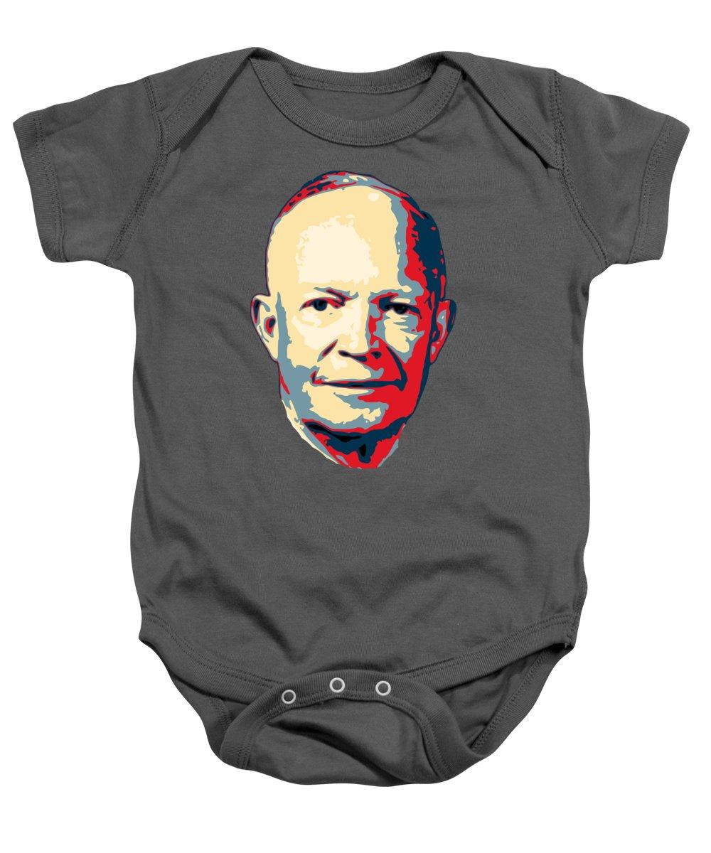 Eisenhower Baby Onesie featuring the digital art Dwight D. Eisenhower Pop Art by Filip Hellman