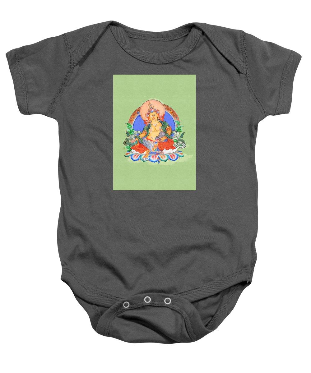 Jambhala Baby Onesie featuring the digital art Dzambala The Buddha Of Wealth by Jennifer Masters