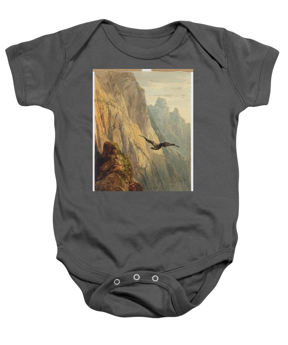 Alexandre Calame (arabie 1810 - 1864 Menton) Eagle Circling Before A Cliff Face Baby Onesie featuring the painting Eagle Circling by MotionAge Designs
