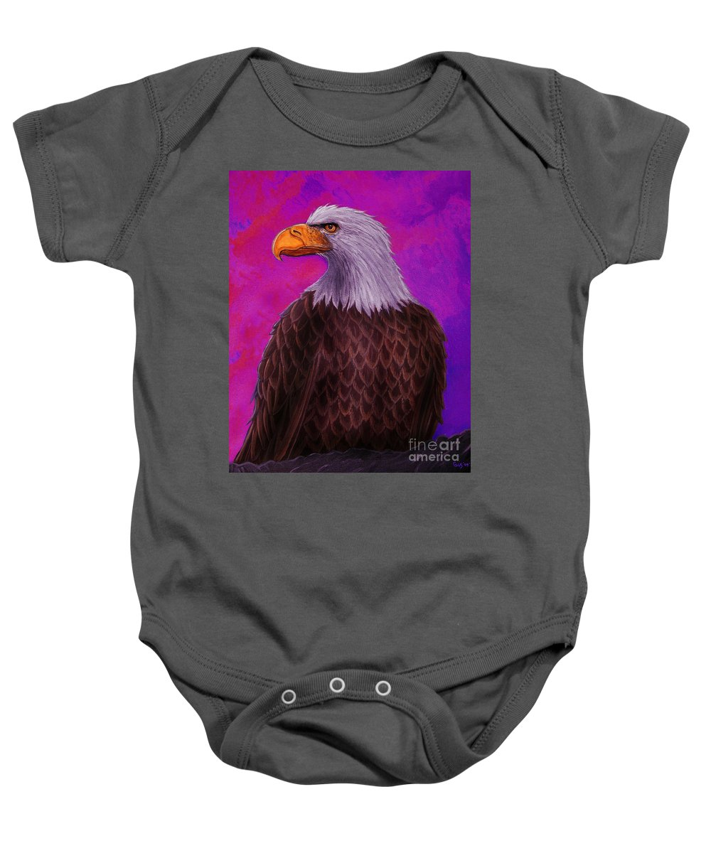 Eagle Baby Onesie featuring the painting Eagle Crimson Skies by Nick Gustafson