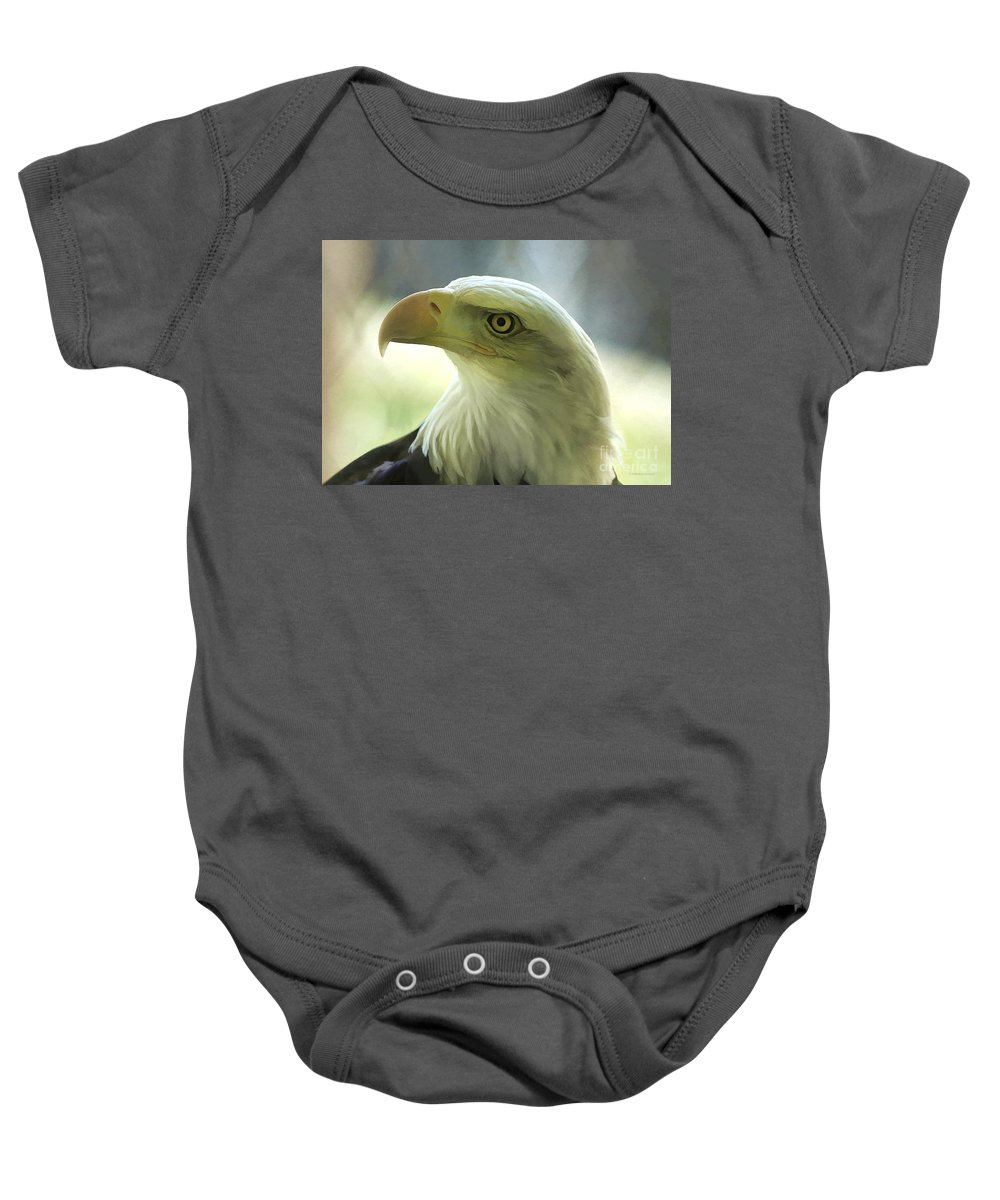 Eagle Baby Onesie featuring the photograph Eagle Majesty by Deborah Benoit