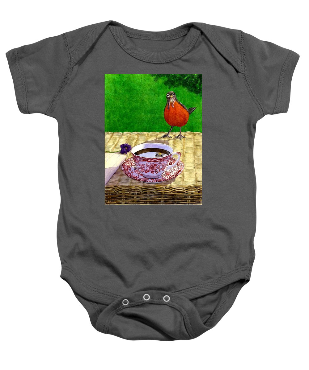 Robin Baby Onesie featuring the painting Early Bird by Catherine G McElroy