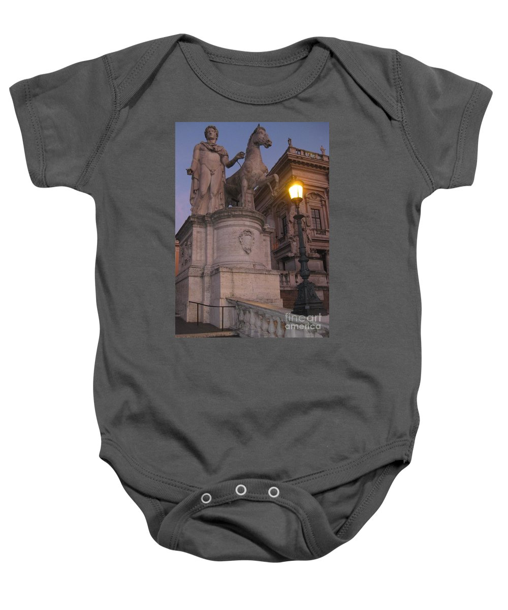 Statue Baby Onesie featuring the photograph Early Evening In Rome by John Malone