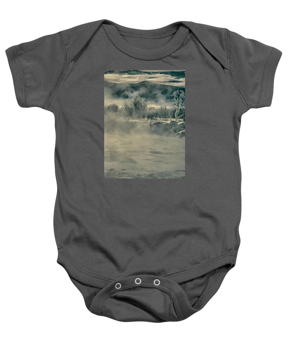 River Baby Onesie featuring the photograph Early Morning Frost On The River by Don Schwartz