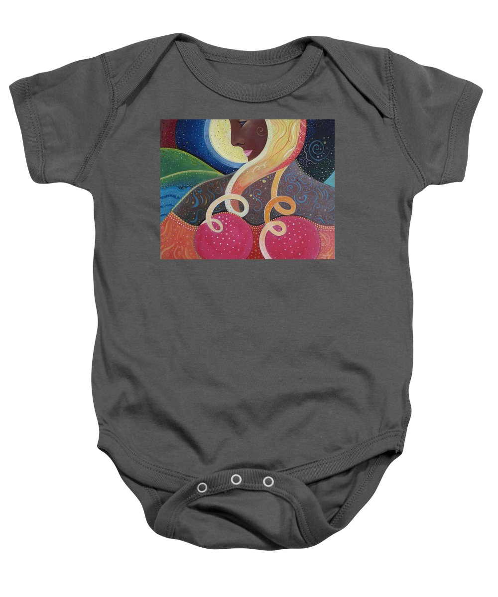 Angel Baby Onesie featuring the painting Earth Angel by Helena Tiainen