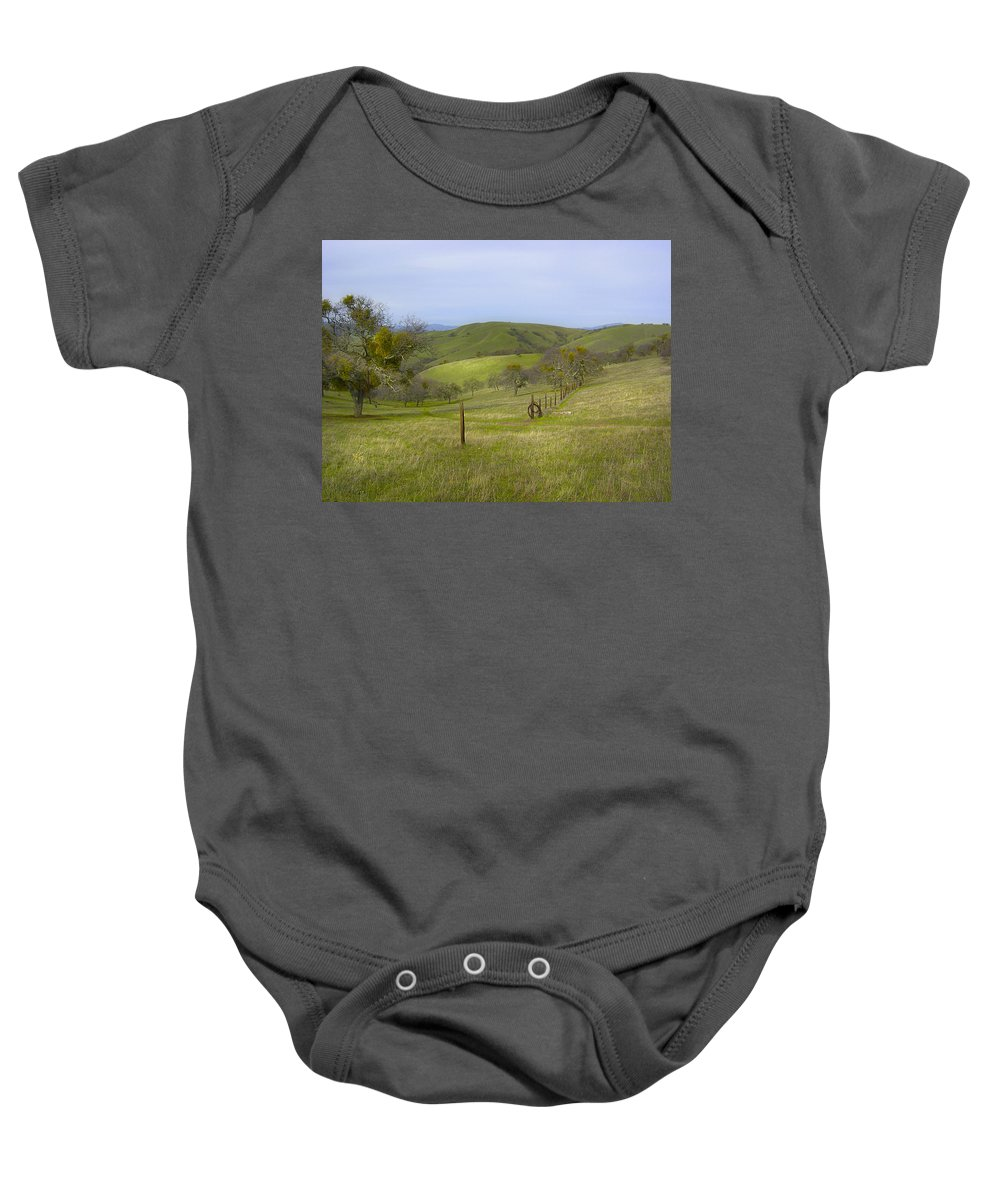 Landscape Baby Onesie featuring the photograph East Ridge Trail Barbed Wire by Karen W Meyer