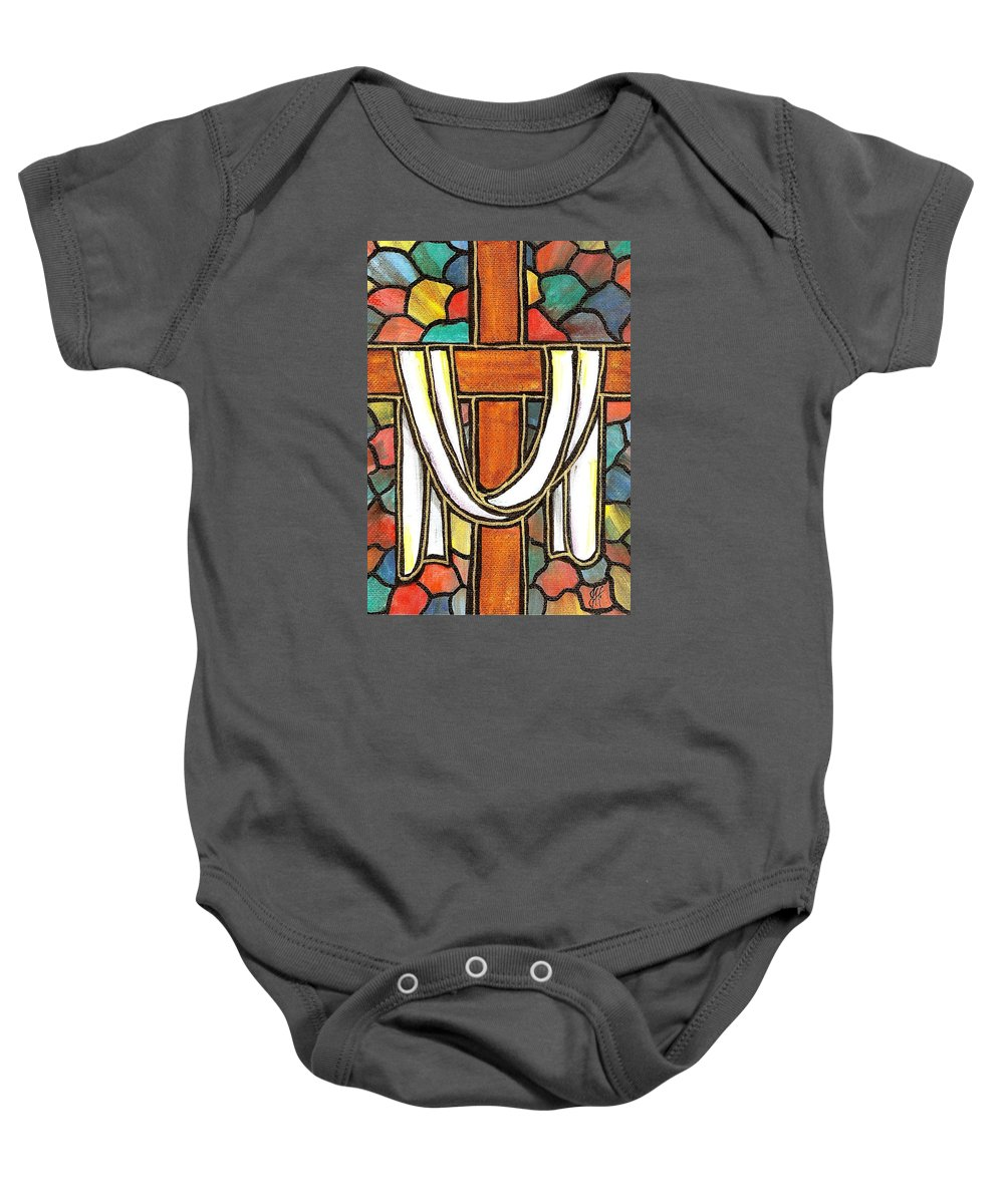 Easter Baby Onesie featuring the painting Easter Cross 6 by Jim Harris