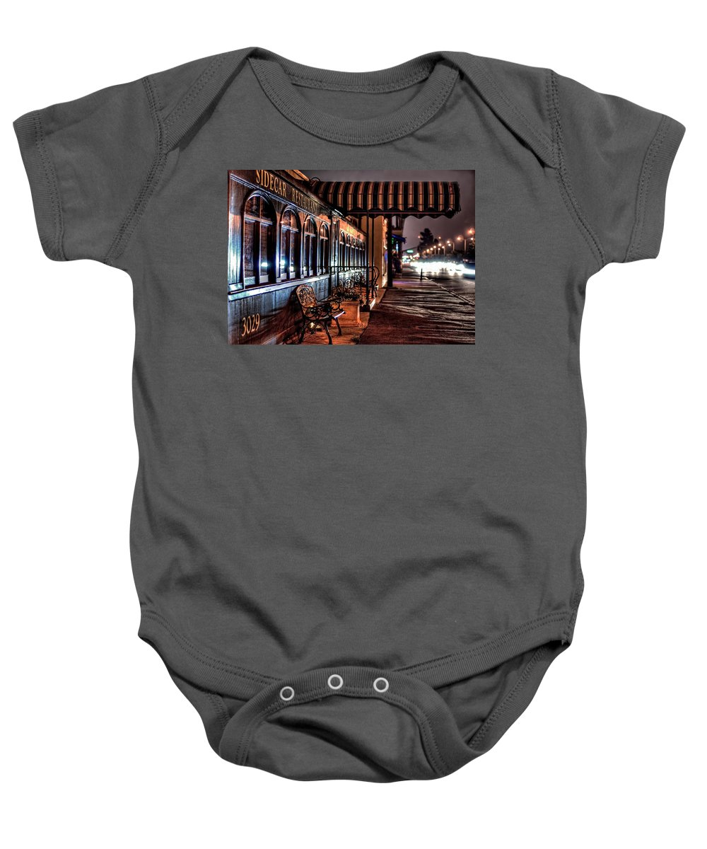 Night Bench Cityscape Sidecar Train Restaurant  Baby Onesie featuring the photograph Eatery by Wendell Ward