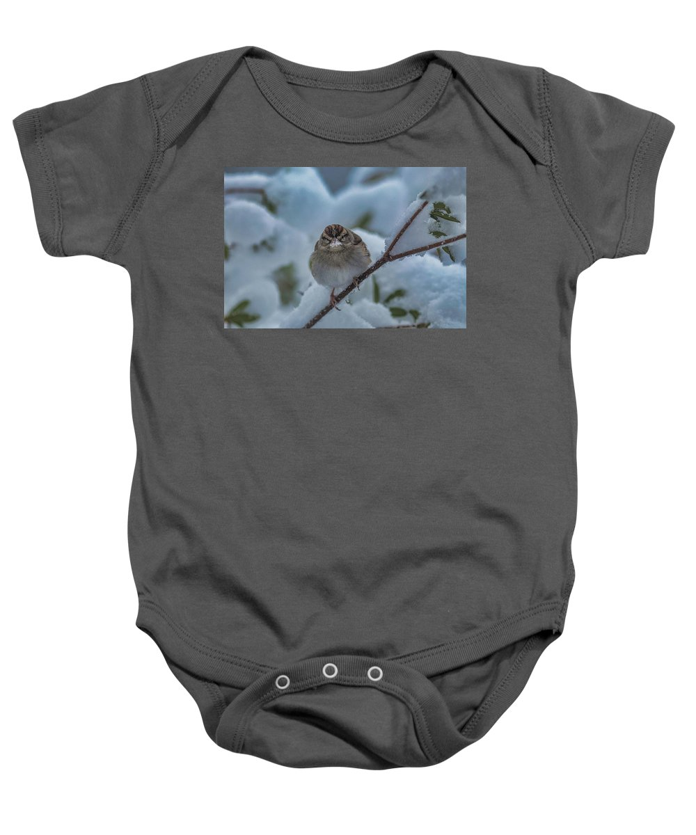 Snow Baby Onesie featuring the photograph Eating Snow by Cindi Poole