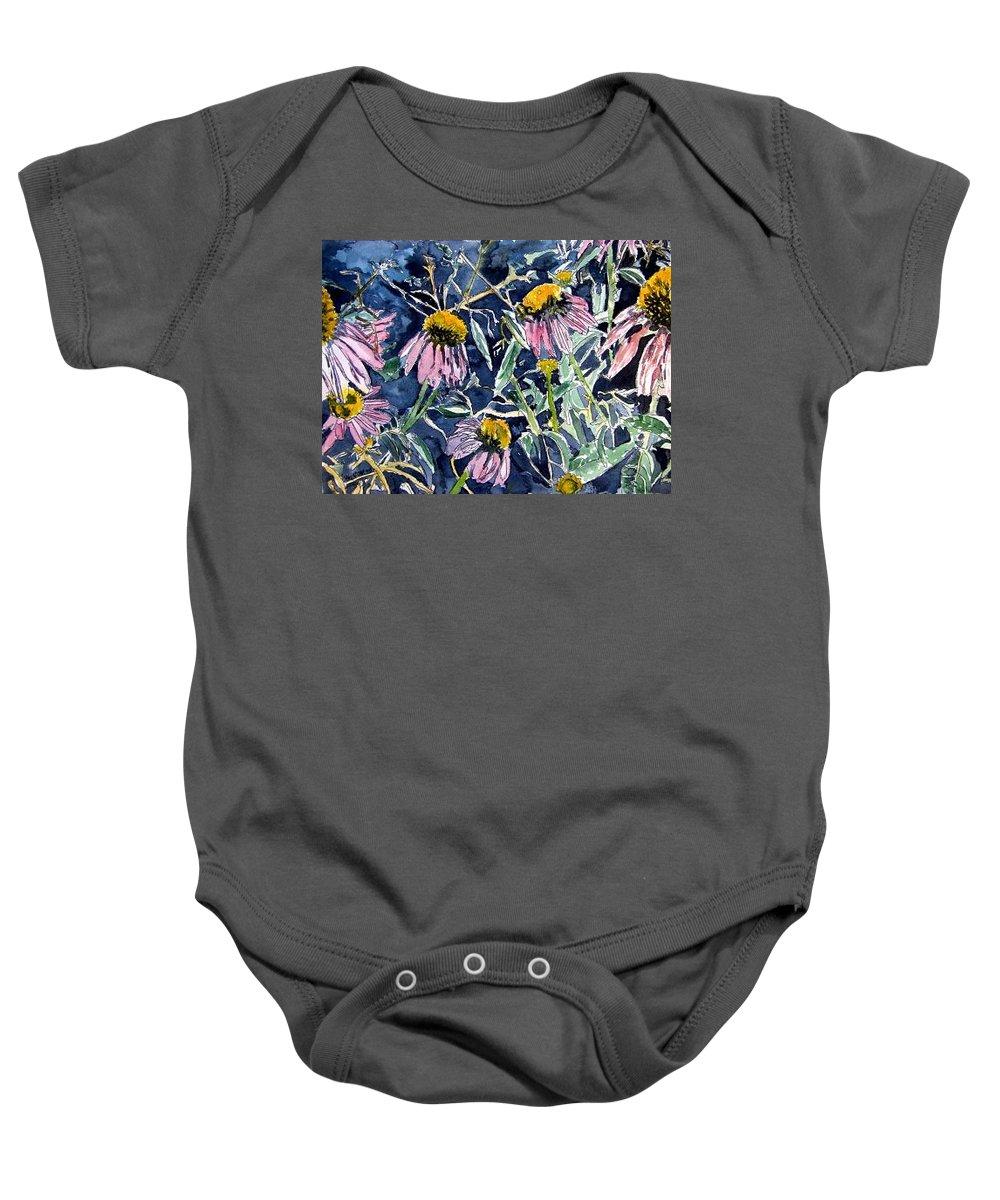 Echinacea Baby Onesie featuring the painting Echinacea Cone Flower Art by Derek Mccrea