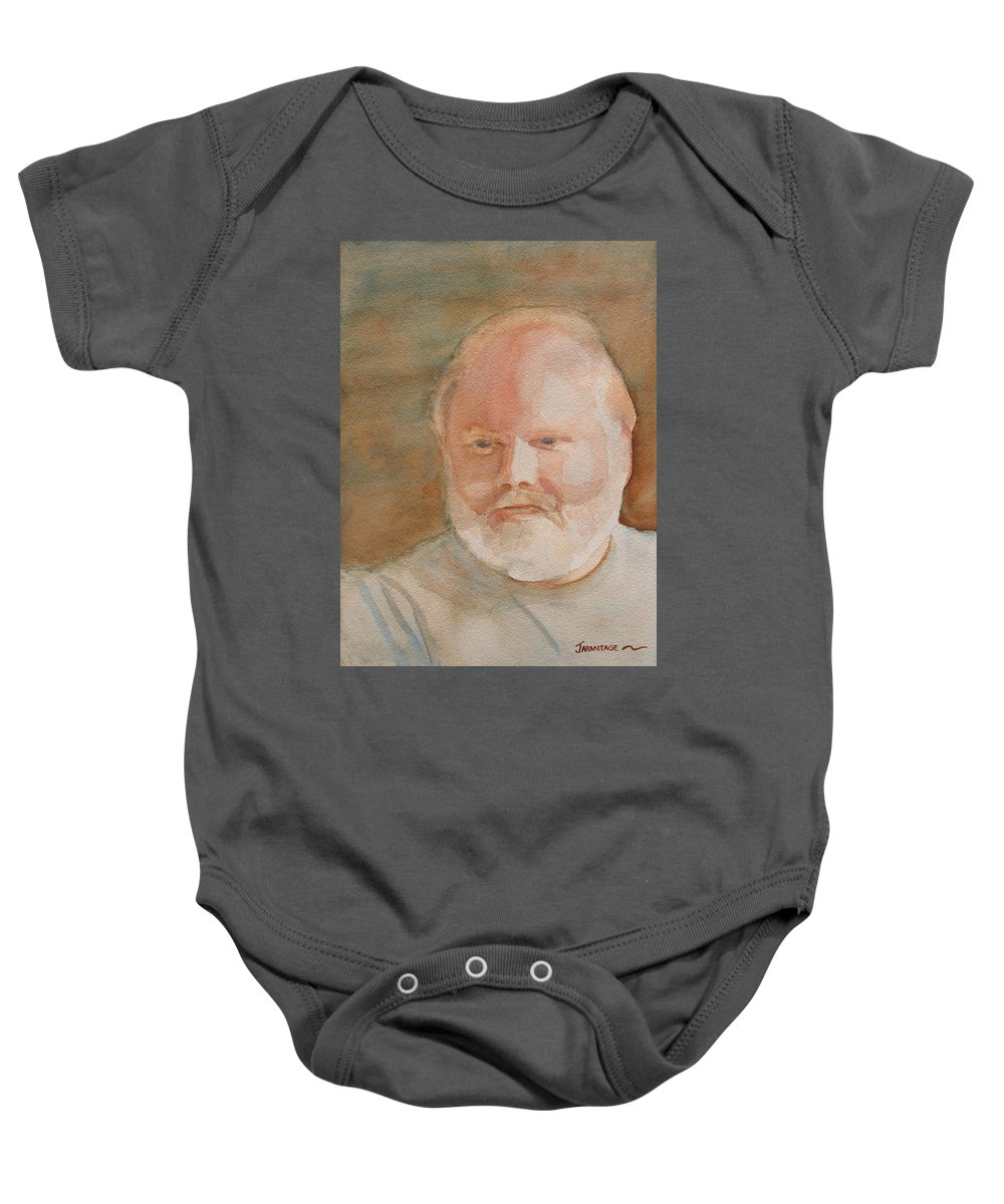 Man Baby Onesie featuring the painting Ed Turns Forty by Jenny Armitage
