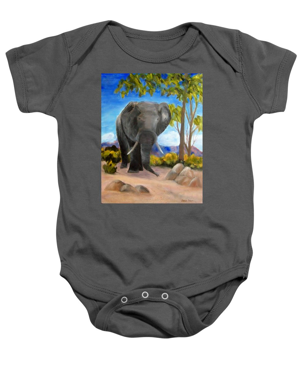 Elephant Baby Onesie featuring the painting Eddy Elephant by Jamie Frier