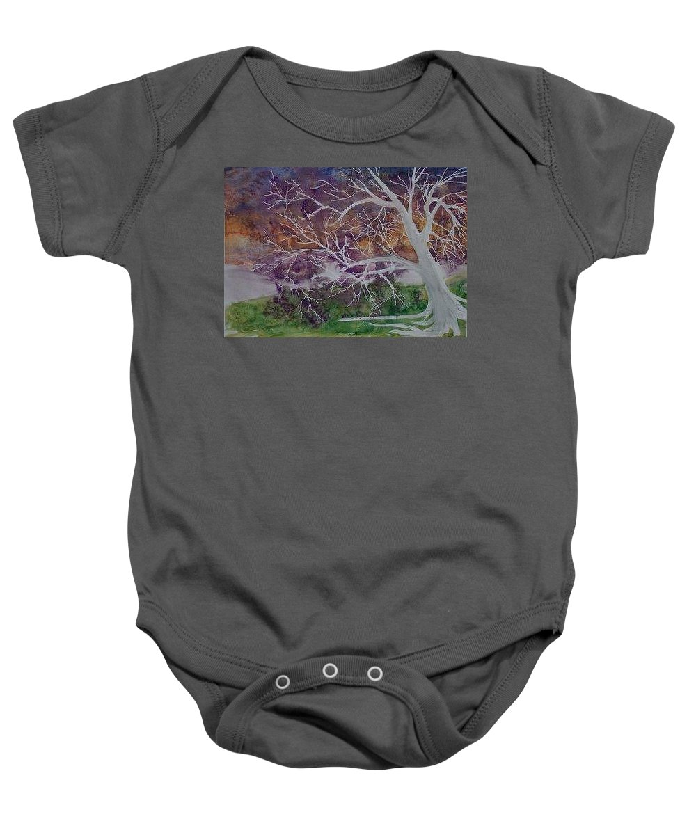 Watercolor Baby Onesie featuring the painting Eerie Gothic Landscape Fine Art Surreal Print by Derek Mccrea