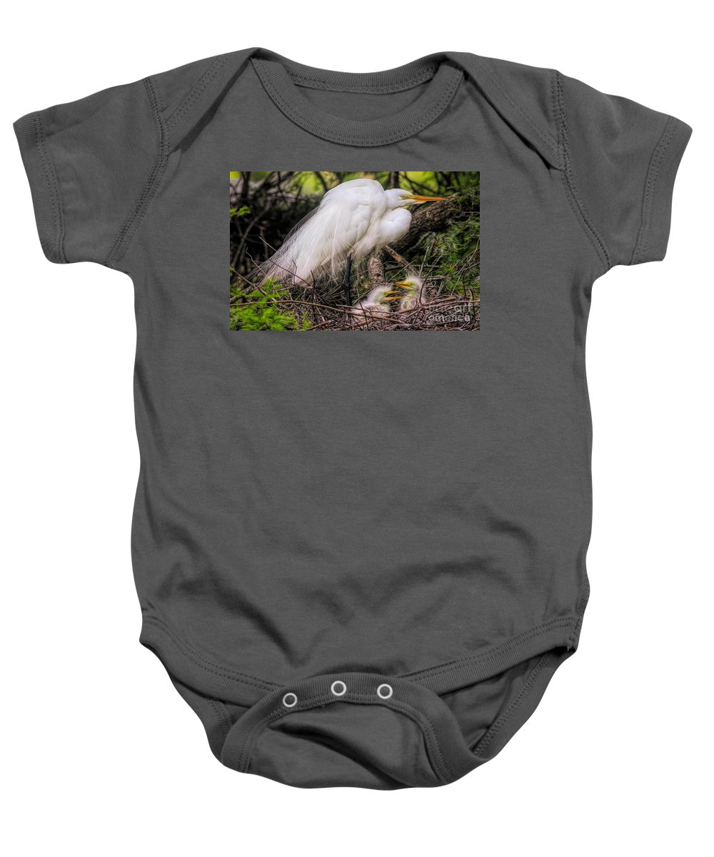 Great White Egret Baby Onesie featuring the photograph Egrets - 3362 by Paulette Thomas
