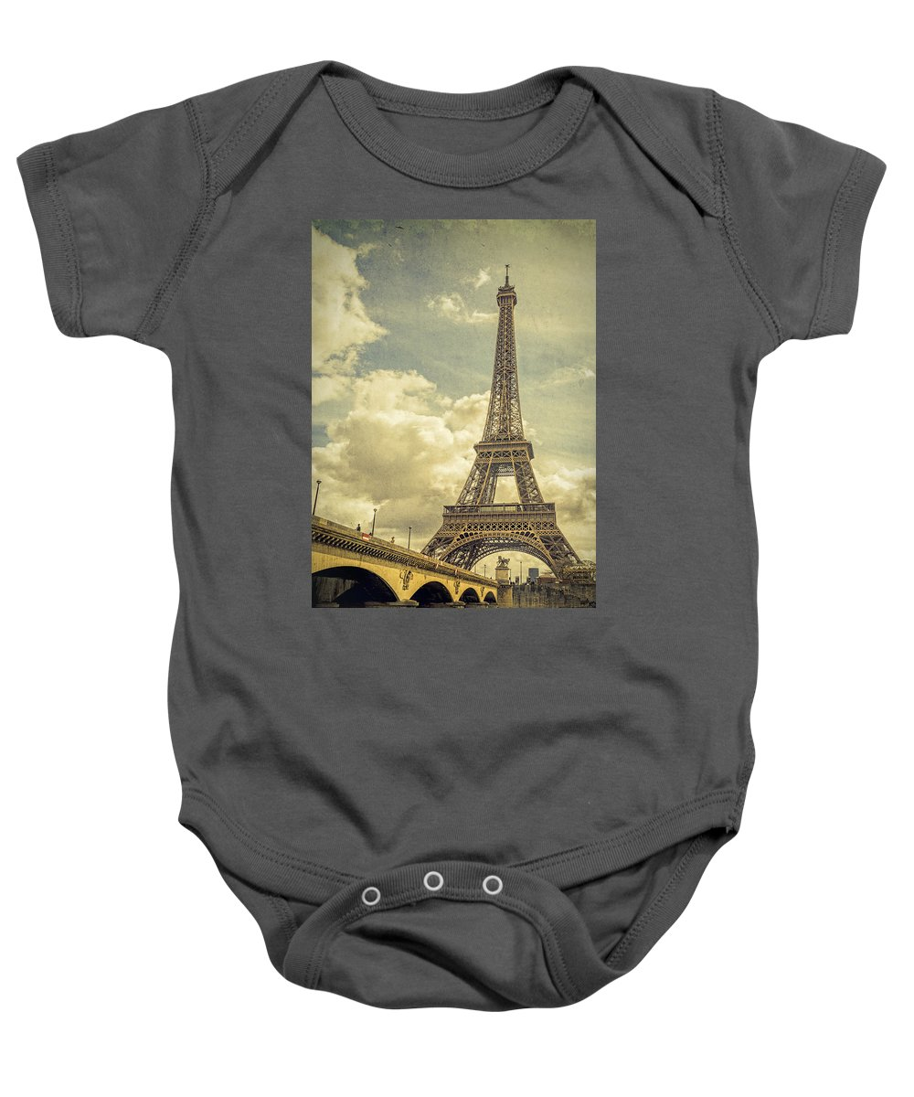 Joan Carroll Baby Onesie featuring the photograph Eiffel Tower And Pont D'lena Vintage by Joan Carroll