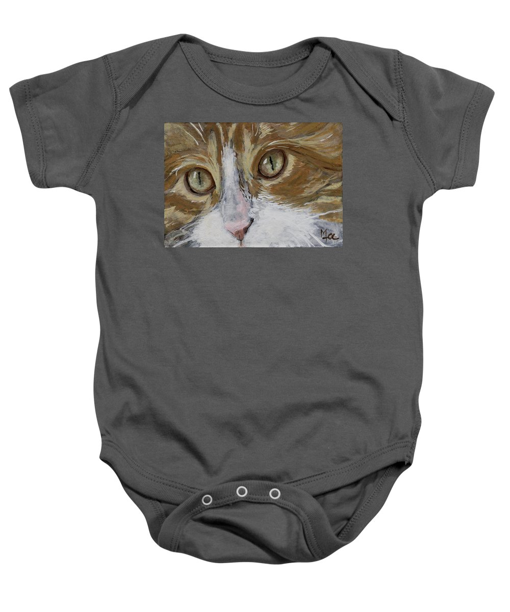 Charity Baby Onesie featuring the painting Einstein by Mary-Lee Sanders