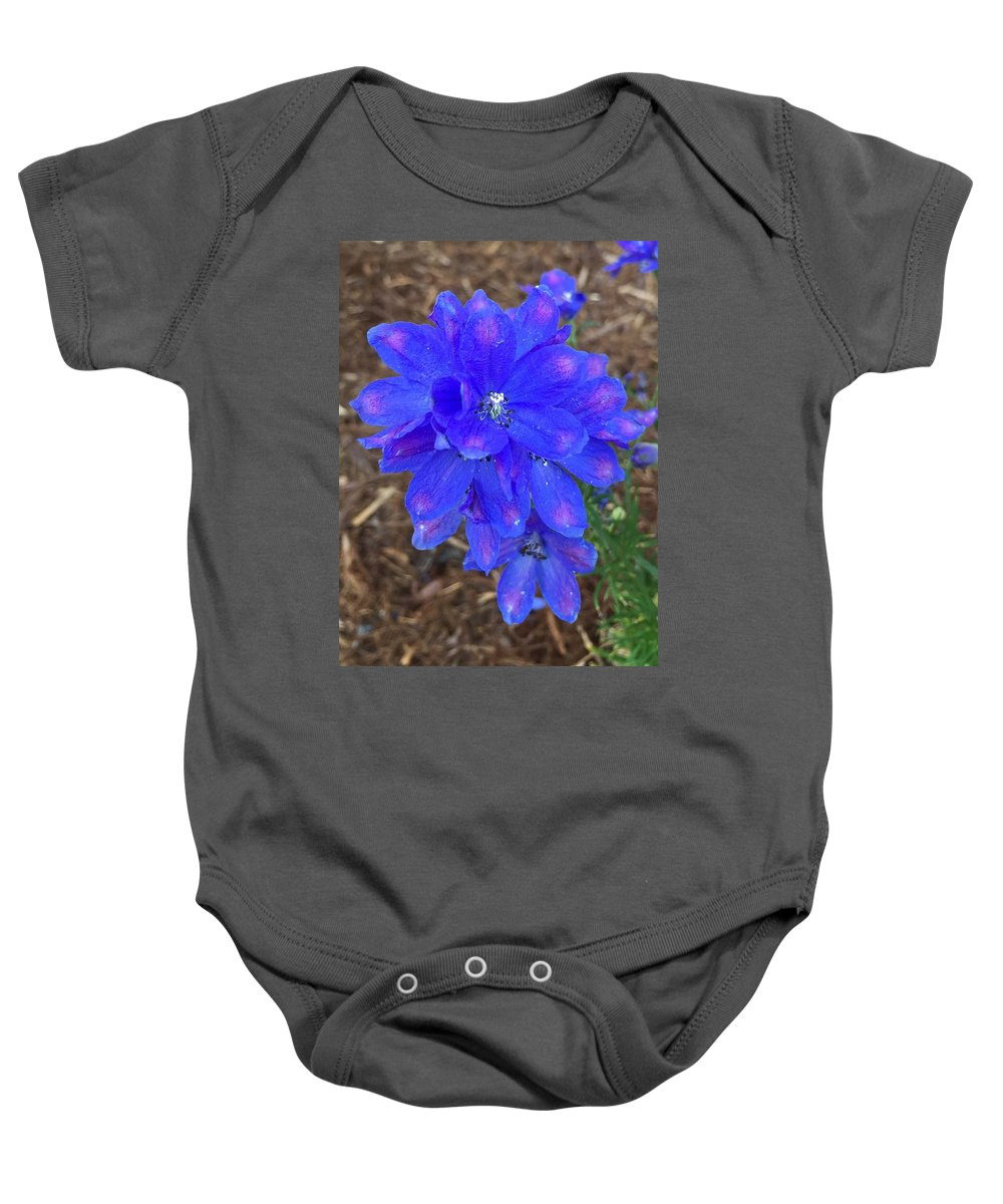 Electric Blue Flower Flora Closeup Nature Baby Onesie featuring the photograph Electric Blue Flower by Russell Keating