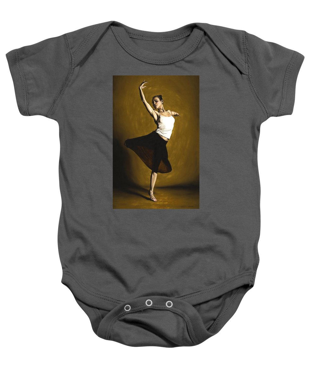 Elegant Baby Onesie featuring the painting Elegant Dancer by Richard Young