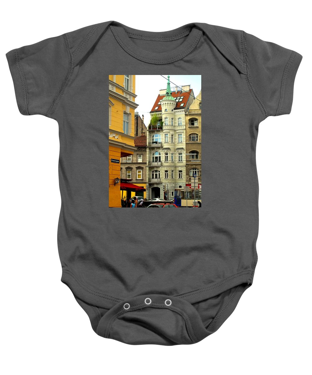 Vienna Baby Onesie featuring the photograph Elegant Vienna Apartment Building by Ian MacDonald