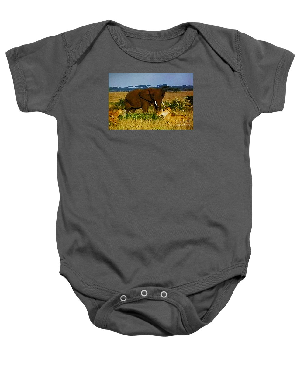 Nature Baby Onesie featuring the digital art Elephant And The Lions by Don Baker