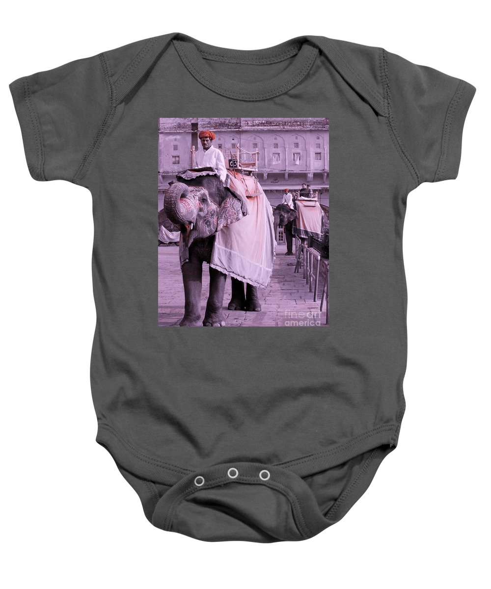 Elephant Baby Onesie featuring the photograph Elephant At Amber Fort by Sonal Dave